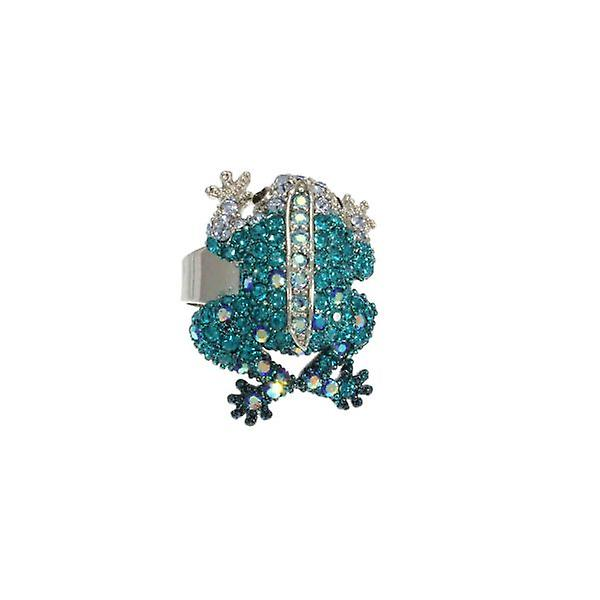 W.A.T Sparkling Teal Swarovksi Crystal Frog Ring