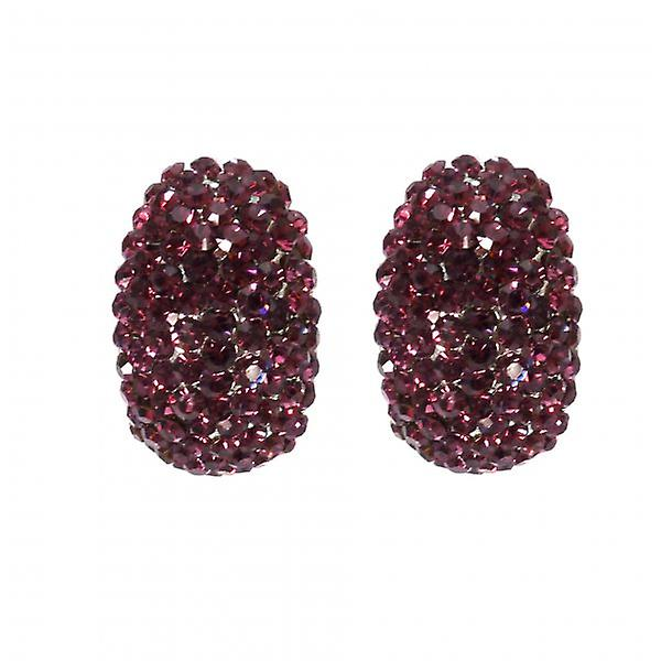 W.A.T Sparkling Purple Crystal Oval Shaped Fashion Earrings