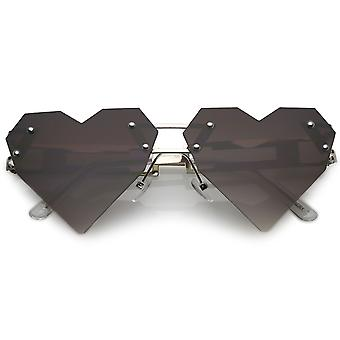 Oversize Laser Cut Heart Sunglasses With Metal Arms Rivet Tinted Lens 60mm