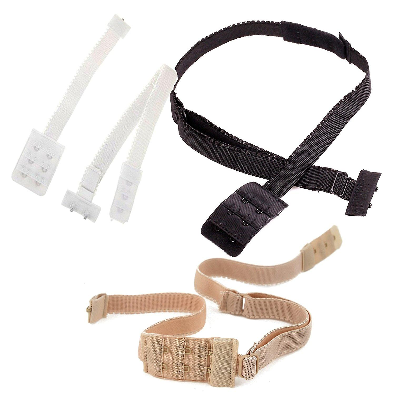 BACKLESS LOW BACK BRA STRAP CONVERTER EXTENDER - Choose your colour WHITE - BLAC