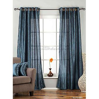 Navy Blue Ring / Grommet Top Textured Curtain / Drape / Panel - 84