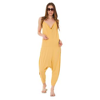 Jersey Jumpsuit - Gold Drop Crotch Lightweight Stretch Relaxed Fit Playsuit