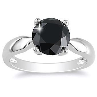 2 1/2ct Black Diamond Solitaire Engagement Ring 14k White Gold
