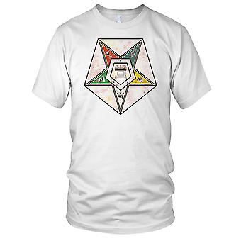 Masons OES Order Of Eastern Star OES Masonic Grunge Effect Mens T Shirt