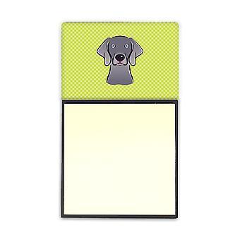 Scacchiera calce verde Weimaraner Refiillable note di Sticky Note titolare o Postit Nota
