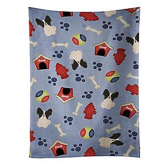 Hund Haus Kollektion Papillon schwarz weißen Küchentuch
