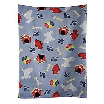 Carolines tesouros BB3936KTWL maltês cachorro casa coleção toalha de cozinha