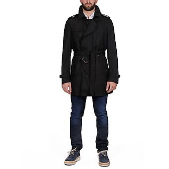 Burberry men's 387304900100 black polyester trench coat