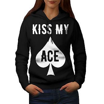 Kiss my Ace Card Gamble Women BlackHoodie | Wellcoda