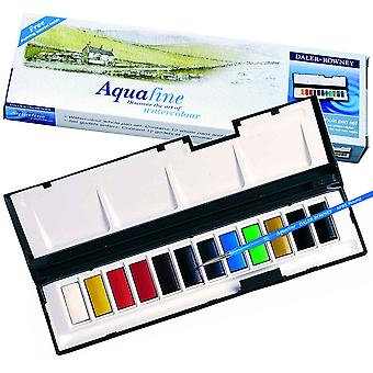 Daler Rowney Aquafine Watercolour Whole Pan 12 Travel Set