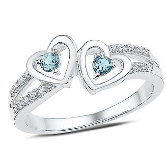 Twin Heart Created Aquamarine Promise Ring 1/8 Carat  in Sterling Silver