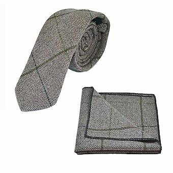 Espiga marrón caqui luz de lujo comprobar lazo y bolsillo cuadrado conjunto, Tweed