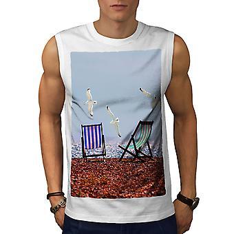 Seagull Sea Photo Men WhiteSleeveless T-shirt   Wellcoda
