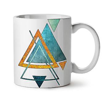 Abstract Triangle NEW White Tea Coffee Ceramic Mug 11 oz | Wellcoda