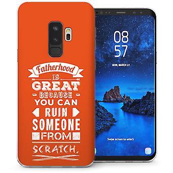 Samsung Galaxy S9 Plus Dad Fatherhood Funny Quote TPU Gel Case – Orange