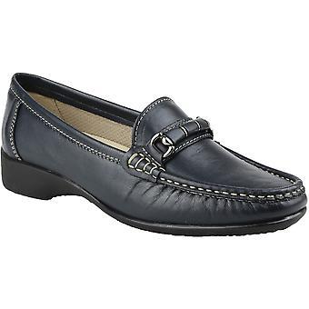 Cotswold Ladies Barington Smart Leather Moccasin Shoe Navy