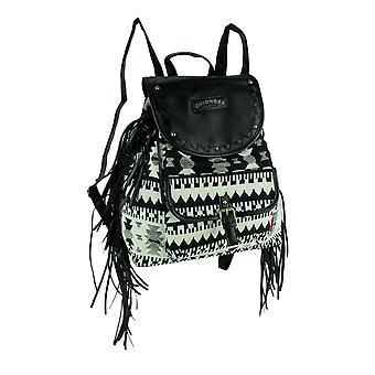 Unionbay Black and White Tribal Print Ladies Fringe Backpack