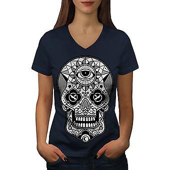 Zucker Schädel Kopf Frauen NavyV-Neck T-shirt   Wellcoda