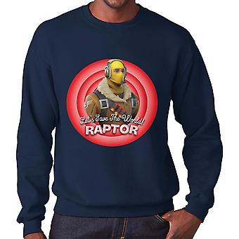 Fortnite Raptor Lets Save The World Men's Sweatshirt