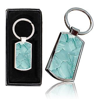 i-Tronixs - Premium Marble Design Chrome Metal Keyring with Free Gift Box (2-Pack) - 0042