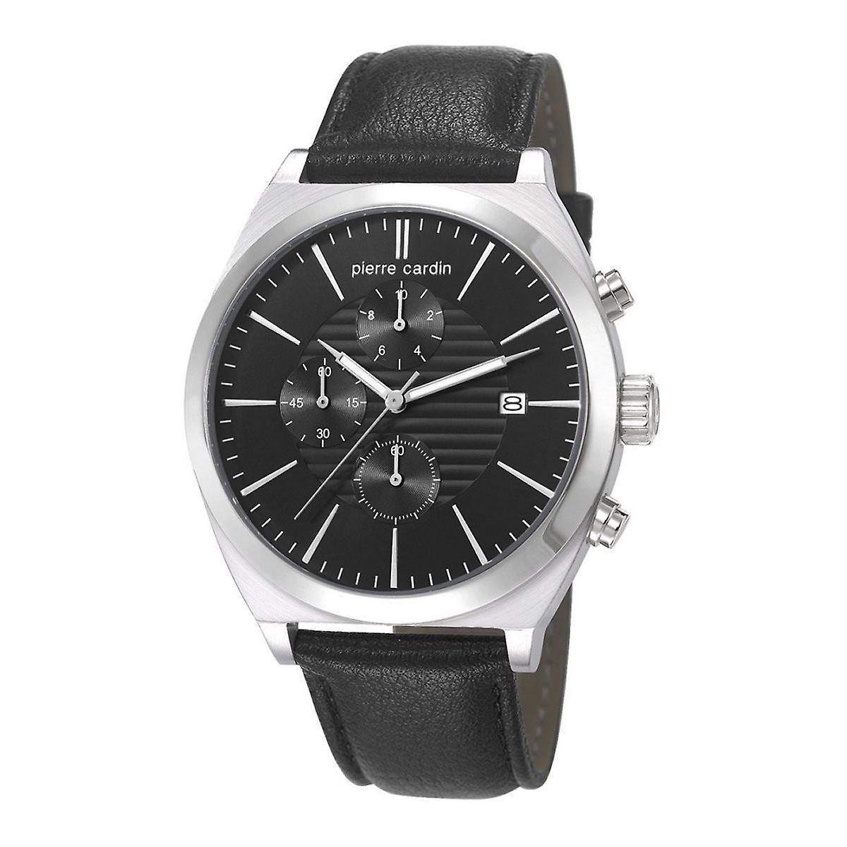 Pierre Cardin Herren Uhr Armbanduhr Chrono CAMBRONNE Leder PC106701F02