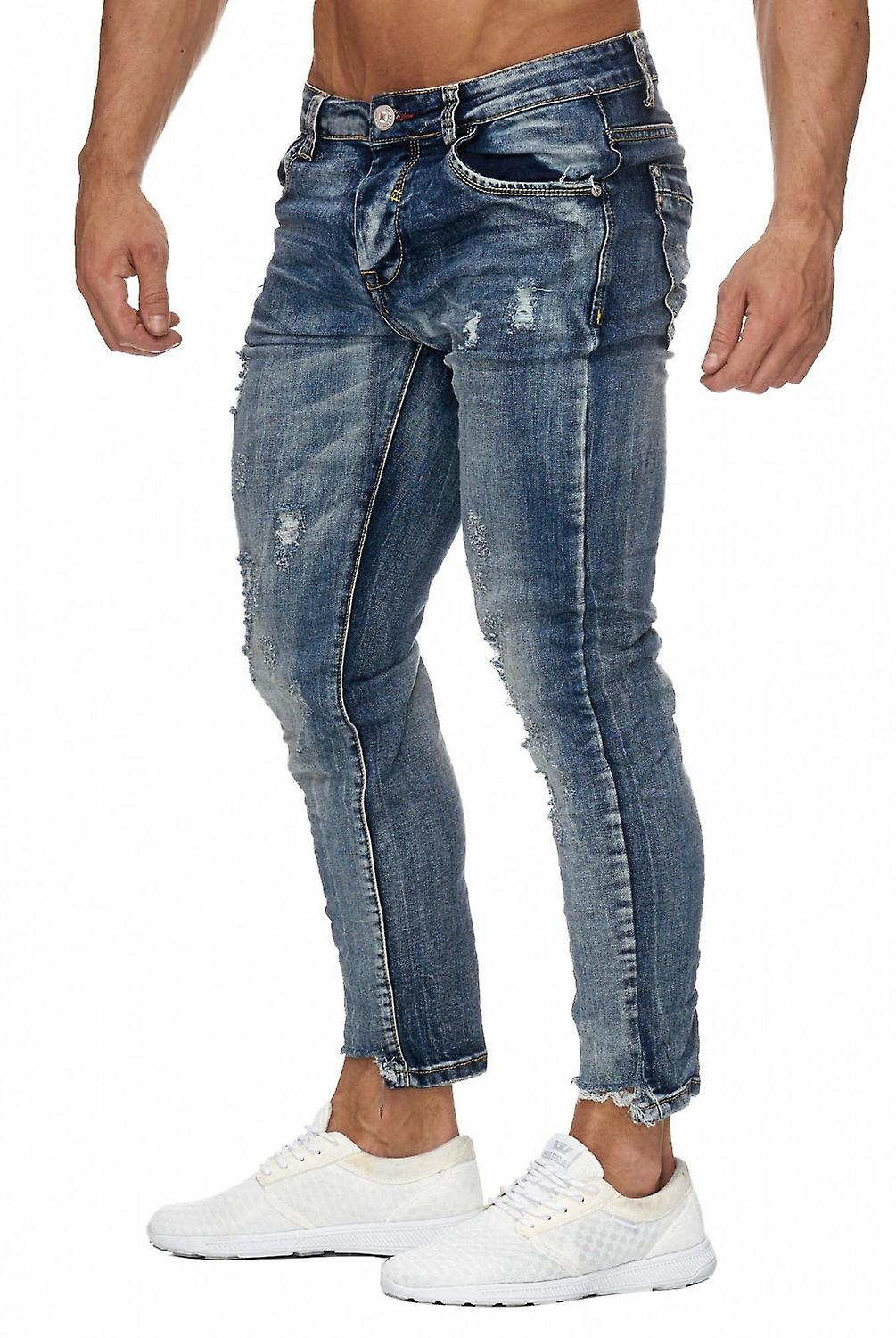 Mens Ripped 7 8 Jeans Destroyed Regular Fit Tapered Leg H1960