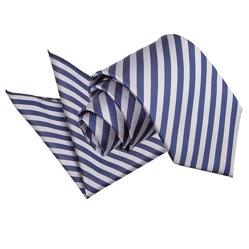Navy Blue & Silver Thin Stripe Tie & Pocket Square Set
