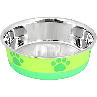Non-Skid Bonded Stainless Steel Bowl 1Pt-Lime With Green Print