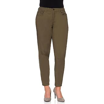 sheego ladies stretch trousers casual look plus size khaki