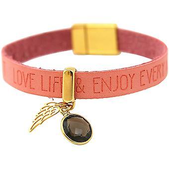 Gemshine Armband Engel Flügel 925 Silber Vergoldet WISHES Rosa Rauchquarz