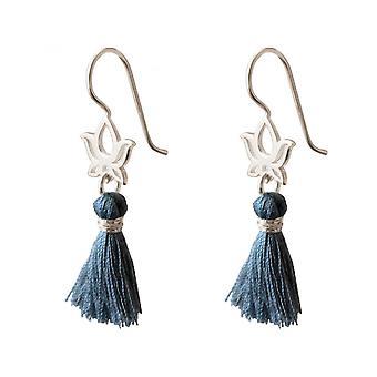 Damen - Ohrringe - Ohrhänger - 925 Silber - Lotus Blume - Quaste - Blau - YOGA - 4 cm