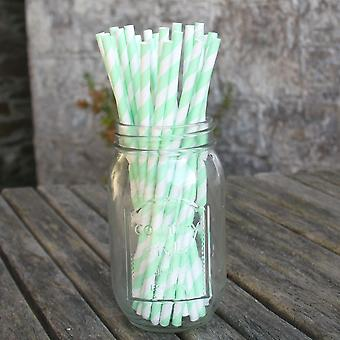 Mint Green Striped Paper Straws x25 For Wedding Parties and Celebration Drinks