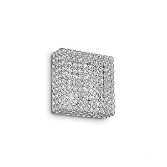 Ideal Lux Admiral Modern Square Crystal 4 Light Wall Lamp