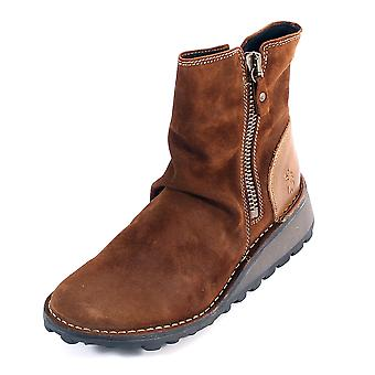 Fly London Women's Mong Oil Suede / Leather Zip Ankle Boot Camel