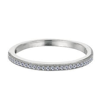Sterling Silver Rhodium Finish Milgrain Cubic Zirconia Ring