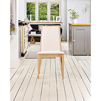 Olten Uno Light Oak Dining Chair - Cream (Pack of Two)-Baumhaus