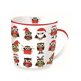 Stow Green Christmas Mug In A Tin, Christmas Owls