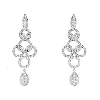 Large Celtic Statement Drop Earrings CZ 925 Sterling Silver Bridal Wedding Big