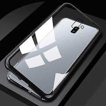 Für Samsung Galaxy J4 Plus J415F Magnet / Metall / Glas Case Bumper Transparent / Schwarz Tasche Hülle Neu