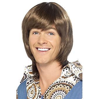 Corta marrón ondulado peluca, peluca de galán de los años 70, accesorio de disfraz de estrella del pop