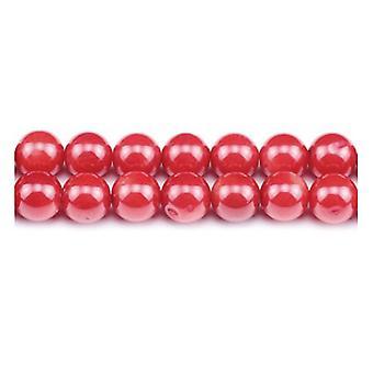 Strand 60 + röd korall 6mm vanlig runda pärlor GS1862-2