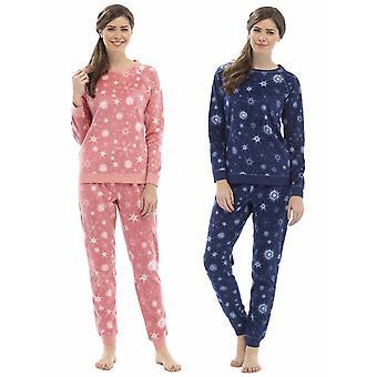 2 Pack Ladies Foxbury Printed Fleece &  Lurex Thread Pyjama Sleepwear