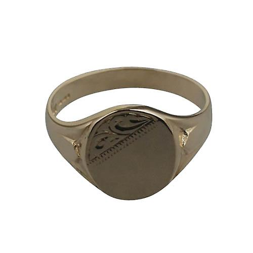 9ct Gold 13x12mm gents engraved oval Signet Ring Size W