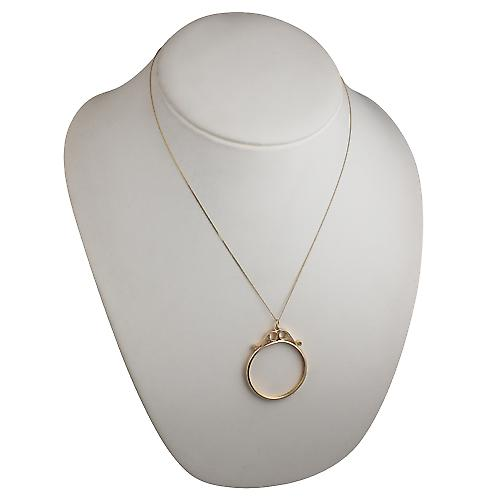 9ct Gold 38x33mm Half Krug mount channel with 2 scrolls Pendant with a curb Chain 20 inches