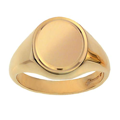 9ct yellow gold 16x14mm gents line border oval Signet Ring