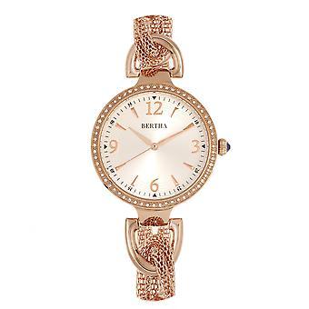 Bertha Sarah Chain-Link Watch w/Hanging Charm - Rose Gold/Silver