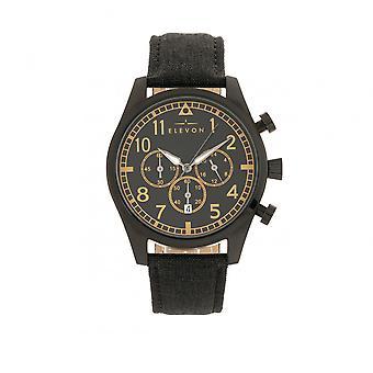Elevon Curtiss Chronograph Nylon-Overlaid Leather-Band Watch - Black