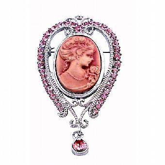 Rosa Cameo Lady Pink Kristalle viktorianischen Vintage Brosche Anhänger