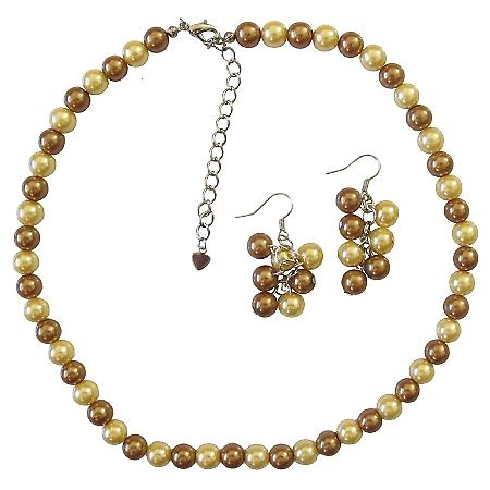 Latte Pearls and Yellow Pearl Necklace sets Stunning Bridal Briedemaids Inexpensive