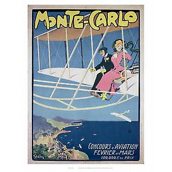 Monte Carlo (old rail ad) mounted print for framing